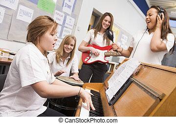 výrobní, školačky, zařadit, hudba, hudební, hraní