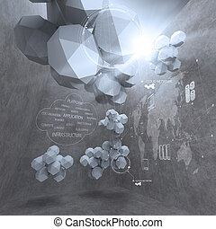 výstavba sítí, mnohoúhelník, abstraktní, počítač, design, bučet, mračno, 3