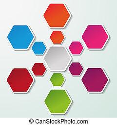 vývojový diagram, noviny, barvitý, šestiúhelník