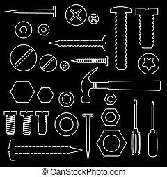 výzbroj, vrtula, a, drápy, s, otesat dlátem, nárys, symbol, eps10