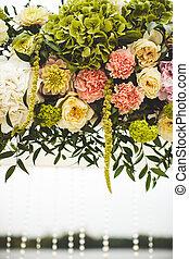 výzdoba, o, svatba, květiny