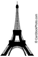 věž, eiffel, silueta