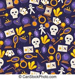 věc, sorcery., hra, fantazie, amulet, vektor, móda, kouzla, byt, magický, model, ikona, kouzelnictví, karikatura, symbol, seamless, kouzelnictví, dát, artifacts, illustration.