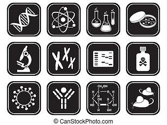věda, biologie, ikona