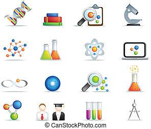 věda, detailní, ikona, dát, do, plný, barva