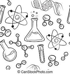 věda, seamless, grafické pozadí