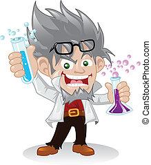vědec, charakter, bláznivý, karikatura