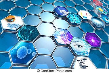 vědecký bádat, pozadí, šestiúhelníkový, ilustrace, pojem, 3