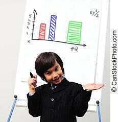 věnování, kůzle, diagram, kreslení, maličký, budoucí, whiteboard