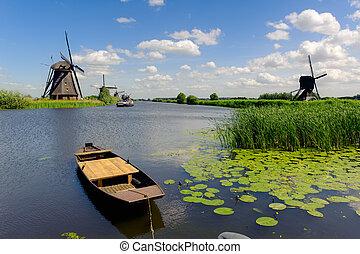 větrný mlýn, krajina, v, kinderdijk, ta, nizozemsko