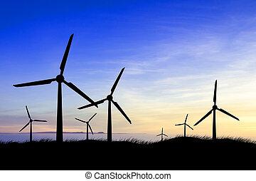 větrný mlýn, silhouettes, v, východ slunce