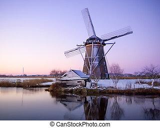 větrný mlýn, východ slunce, do, holandsko