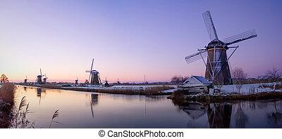 větrný mlýn, východ slunce, do, ta, nizozemsko