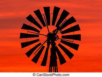 větrný mlýn, východ slunce