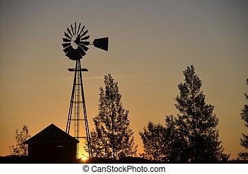 větrný mlýn, východ slunce, silueta