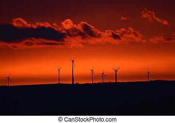 větrný mlýn, v, časný, východ slunce