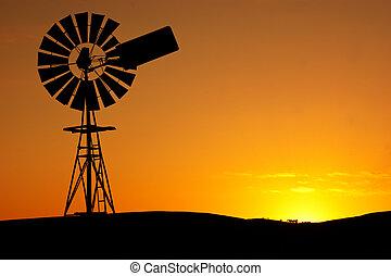 větrný mlýn, západ slunce