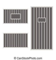 vězení, bar, uvěznit, ilustrace