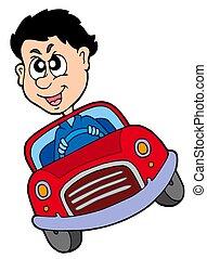 vůz, bláznivý, šofér