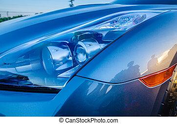 vůz, moderní, čelní světlo, druh