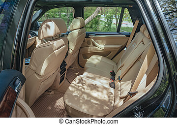 vůz, moderní, plašit se, seats., interior.