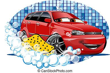 vůz, mytí, firma, s, pečivo