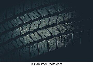 vůz, nasadit pneumatiku šlapat, closeup