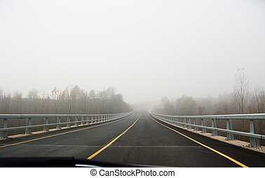 vůz, od mlha, cesta