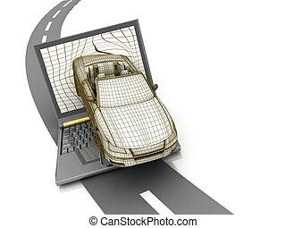 vůz, počítač na klín, pád, vzor