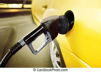 vůz, v, čerpací benzinová stanice