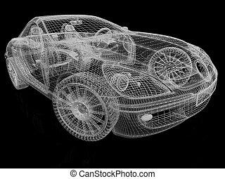 vůz, vzor, temný grafické pozadí, rámec