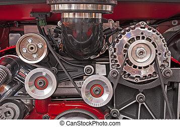 V-8 engine drive pulleys - Engine drive pulleys in a high-...