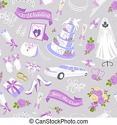 v Bridal showel seamless pattern vector illustration. Beautiful bride, bouquet, wedding car and cake, accesories. Bridal shower or wedding background. Wedding dresses shop boutique advertisement.