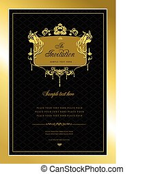 v, card., goud, uitnodiging, trouwfeest, of