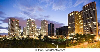 v centru města, beijing, stavení, úřad, večer