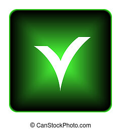 V checked icon. Internet button on white background.