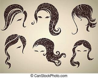 v - Big vector set of grunge vintage hair styling for woman...