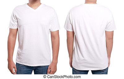 v-cou, blanc, conception, chemise, gabarit