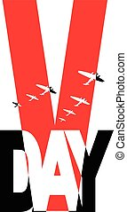V-day - Commemorative Second World War victory day symbol,...