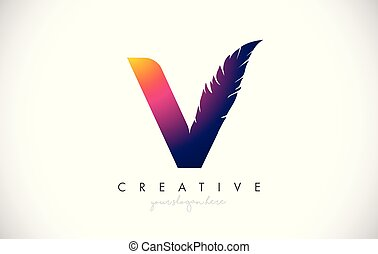 V Feather Letter Logo Icon Design With Feather Feathers Creative Look Vector Illustration