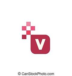 V Font Vector Template Design