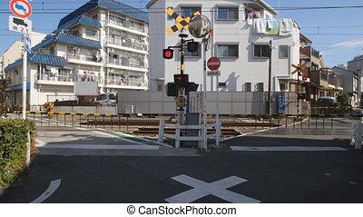 V-formation railway crossing of Seibu Ikebukuro line -...