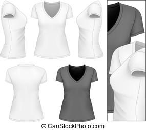 v-hals, t-shirt., kvinnor