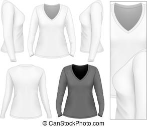 v-hals, t-shirt, lange mouw, vrouwen