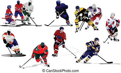 v - Ice hockey players. Colored Vector illustration for...