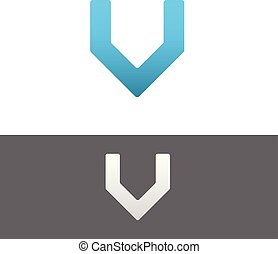 V Letter Alphabet Abstract vector text logo