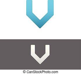 V Letter Alphabet Abstract vector text logo