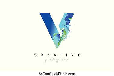 V Letter Icon Design Logo With Creative Artistic Ink Painting Flow in Blue Green Colors