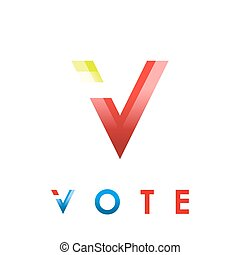 V letter icon, voting concept