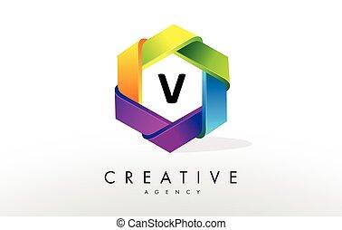 V Letter Logo. Corporate Hexagon Design